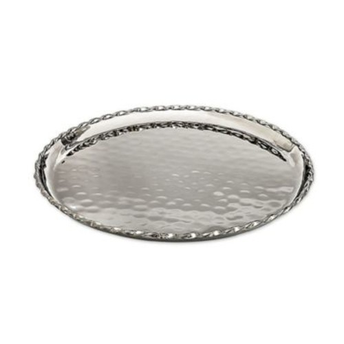 Classic Touch Twisted Round Tray in Silver