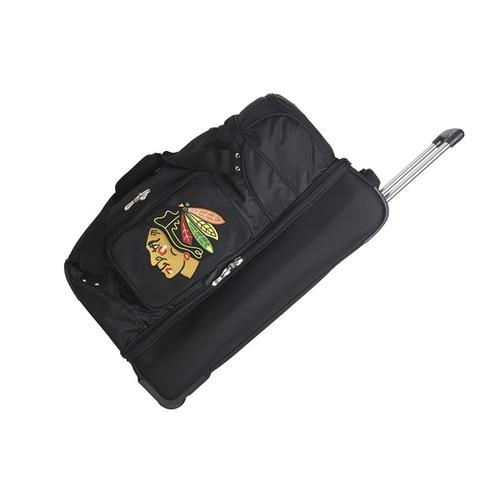 Denco Sports Chicago Blackhawks 27-inch Drop Bottom Rolling Duffel Bag - Black