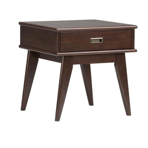 Simpli Home Draper Mid Century Medium Auburn Brown Storage End Table