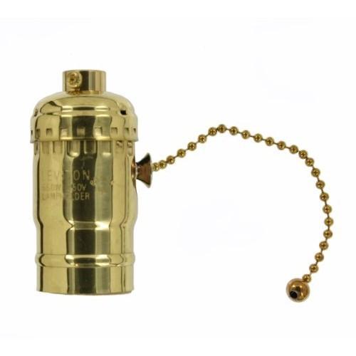 Leviton 19980-BR Medium Base Brass Shell Incandescent Lampholder, Brass