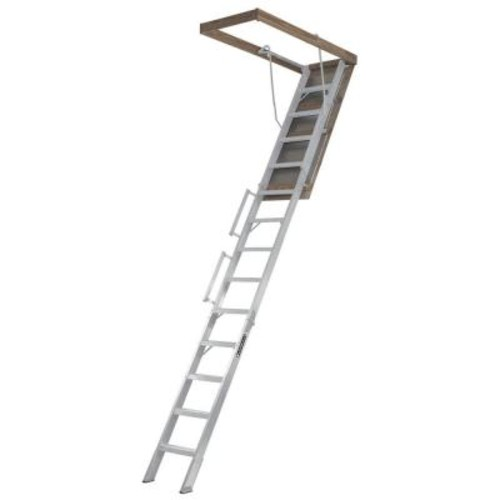 Louisville Ladder Everest 10 ft. - 12 ft., 22.5 in. x 63 in. Aluminum Attic Ladder with 350 lb. Load Capacity