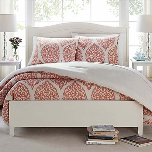 Butter Cotton Damask Ogee Twin Comforter Set in Coral/Ivory