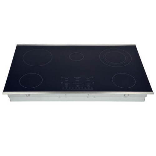 Hallman 36 in. Smooth Top Electric Cooktop in Stainless Steel with 5 Elements including Flex-Power Element