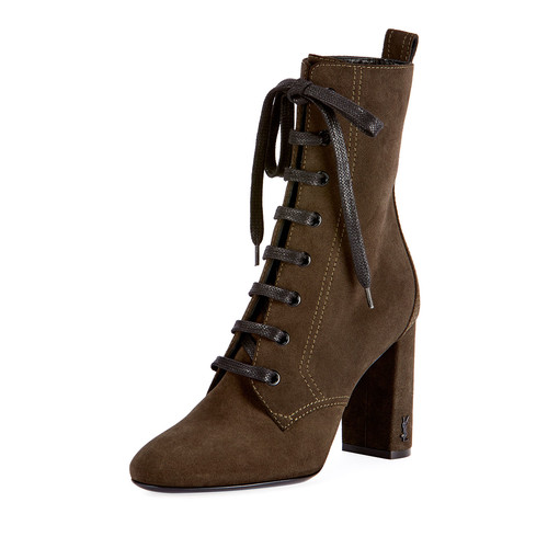 SAINT LAURENT Loulou Suede Lace-Up Boot, Olive