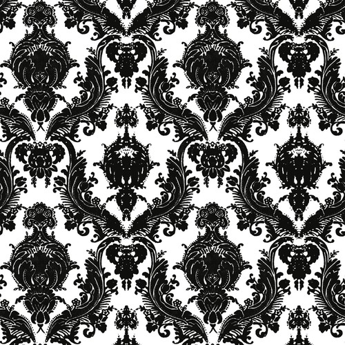 Sample Damsel Self Adhesive Wallpaper in White and Black design by Tempaper