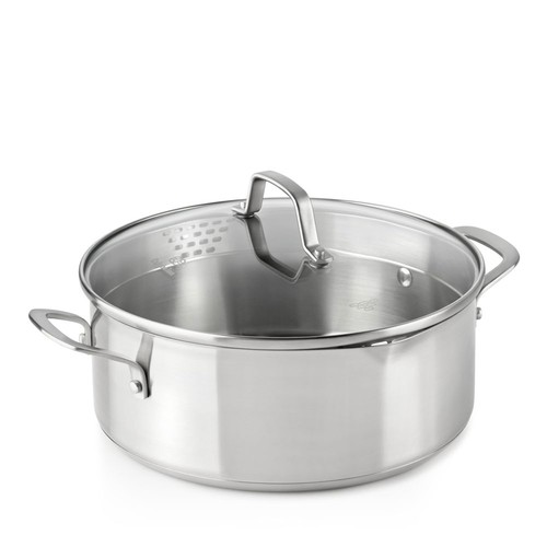 Classic Stainless Steel Strain-and-Pour 5-Quart Dutch Oven