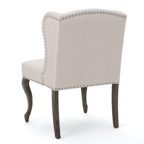 Niclas Wing Back Studded Fabric Accent Chair by Christopher Knight Home [option : Beige]