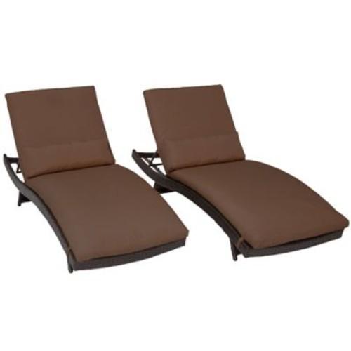 TK Classics Bali Chaise Lounge w/ Cushion (Set of 2); Cocoa