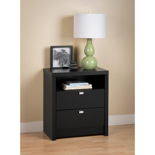 Prepac Manufacturing Ltd Black Series 9 Designer - Tall 2 Drawer Nightstand
