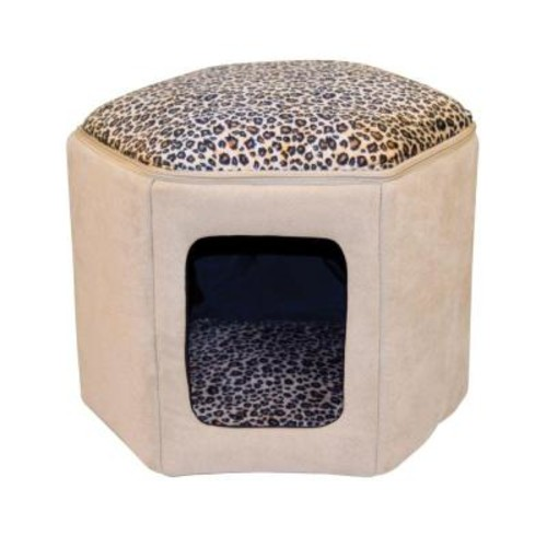 K&H Pet Products Thermo-Kitty Sleep-House Small-Medium Tan Leopard Heated Cat Bed