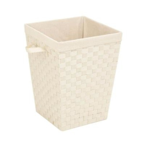 Honey-Can-Do Woven Strap Hamper with Liner in Creme