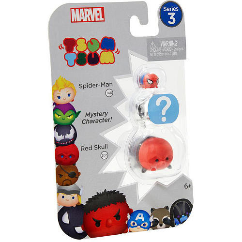 Marvel Tsum Tsum Series 3 3 Pack Mini Figures - Spider-Man, Mystery Figure and Red Skull