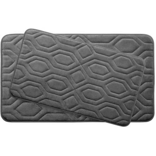 BounceComfort Turtle Shell Dark Gray Memory Foam 2-Piece Bath Mat Set