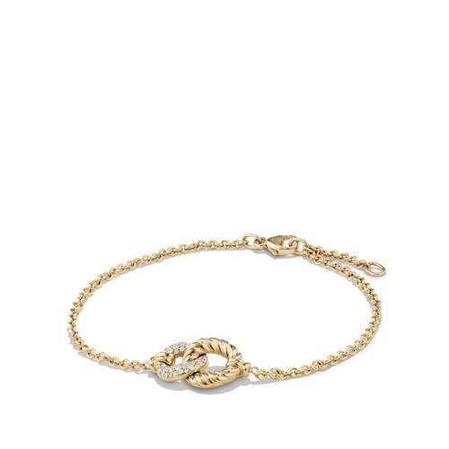 Belmont Curb Link Single Station Bracelet with Diamonds in 18K G