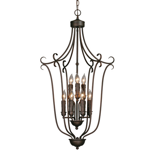 Golden Lighting Multi-family Rubbed Bronze Finish Steel 2-tier 9-light Caged Foyer Fixture - Rubbed Bronze