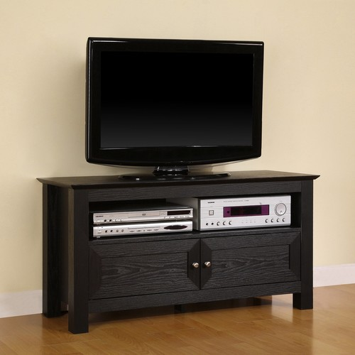 Walker Edison 44 inches Cortez TV Stand Console, Black [Black]