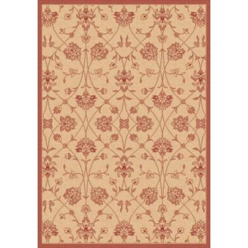 Dynamic Rugs Piazza Natural/Red 7 ft. 10 in. x 10 ft. 10 in. Indoor/Outdoor Area Rug