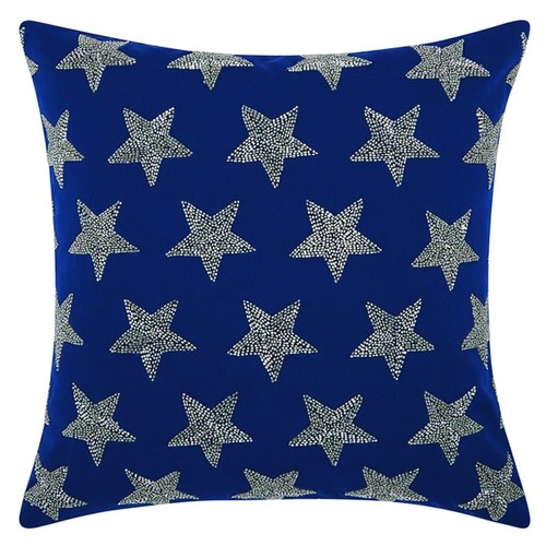Mina Victory Indoor/Outdoor Beaded Stars Navy/Silver Throw Pillow (20-inch x 20-inch) by Nourison