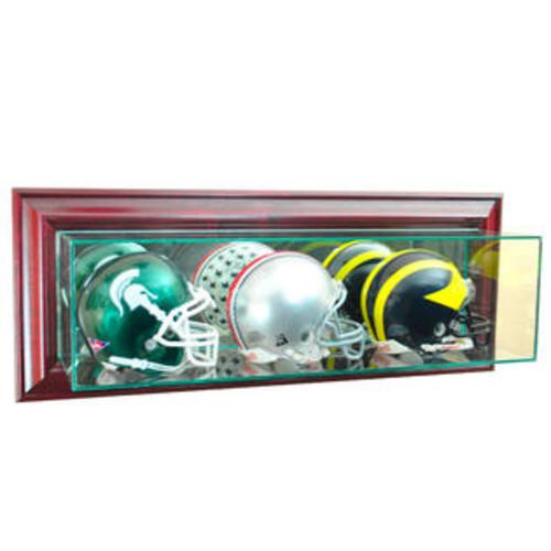 Perfect Cases Cherry Finish Triple Mini Football Display Case