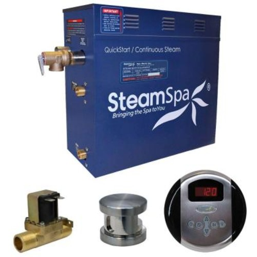 SteamSpa Oasis 7.5kW QuickStart Steam Bath Generator Package with Built-In Auto Drain in Brushed Nickel